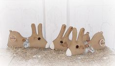 Folk Art Hare Tuck Bunny Rabbit Ornie Bowl by FosterChildWhimsy