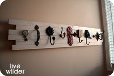 Live a Little Wilder Blog: The Scarf Hanger - For Kelsey: Used knobs instead of hooks and painted them coral colors.