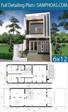 Modern Home Plan with 3 Bedroom - SamPhoas Plan House Layout Plans, Duplex House Plans, House Layouts, House Floor Plans, Home Building Design, Home Design Plans, Simple House Design, Modern House Design, 3 Storey House Design