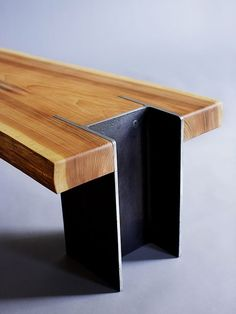 Love the way the I-beam is embedded into the wood to make the legs. Welding Projects, Wood Projects, Woodworking Projects, Learn Woodworking, Woodworking Videos, Woodworking Furniture, Teds Woodworking, Industrial Furniture, Wood Furniture