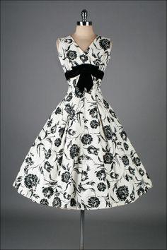 Figure-Flattering, 1950's Elinor Gay, Black & White Cotton Floral-Print Dress