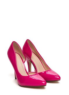 Hot pink patent heels with heart peep toe cut out | Fabulous ...