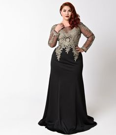 This black plus size gown has a classic silhouette with gold embellishments on the bodice and hips. The long sleeves are sheer as well has the illusion neckline and back. This dress has an invisible zipper and built in padding in the bust. There is some s