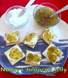 Nanny's Easy Jalapeno Jelly. Delicious served with cream cheese on crackers.   #Jalapeno #jelly #partyfood