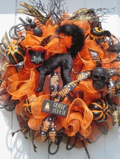 Lighted Annalee Black Cat Halloween Wreath by hollyhillwreaths