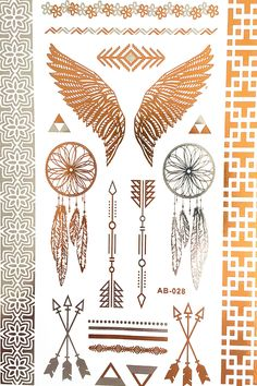 Wing feathers jewelry sticker tattoo metallic tattos golden ...