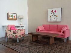 Pink and floral sofa and chair