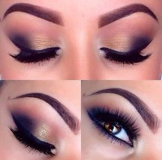 navy and gold smokey eye