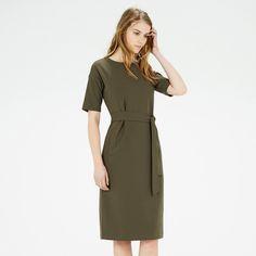 Warehouse London | #Dress | Drop sleeve | Pocket | Khaki | #OL | #Workwear | #Classic