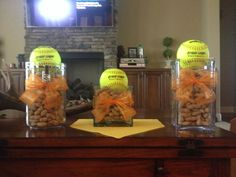Need to flip the ball to the bottom so the guests can snack on the peanuts due to limited table space. Cute idea though. Softball Birthday Parties, Softball Wedding, Senior Softball, Softball Mom, Softball Stuff, Softball Quotes, Baseball Mom, Softball Coach Gifts, Cheerleading Gifts