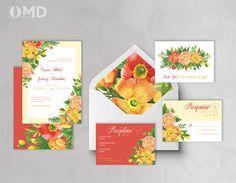 Summer Bouquet Wedding Invitation  Printable by OMDcreative