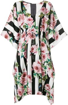 Dolce & Gabbana rose print striped dress