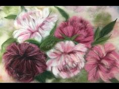 ПИОНЫ -- ЖИВОПИСЬ ШЕРСТЬЮ / FELTING of PICTURE / HOW TO MAKE A PICTURE of WOOL - YouTube