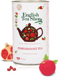 Pomegranate Tea | English Tea Shop   -4 tea bags steeped in 4 c of hot water. -Stir in/dissolve 1/8 cup of sugar. -Squeeze 1 lemon. -Fill with 2-3 cups of ice. -Shake & Enjoy!