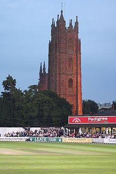 Cricket ground in front of St James Church, Taunton, England