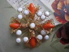 Large Signed HOBE Coral Flower Cross Brooch by CornermouseHouse, $43.00