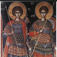 The cult of holy warriors was extremely strong in Serbia. Nothing strange for a military caste. Here is a fresco from monastery Manasija from the start of . Religious Icons, Religious Art, Fresco, Byzantine Art, Church Architecture, Orthodox Christianity, Saint George, Sacred Art, Ikon