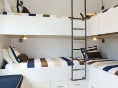 6 Summer Bunk Bed Rooms: Don't have rooms big enough for any of these, but some cool ideas to modify.