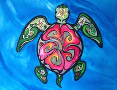 Items similar to Green Sea Turtle Tribal Hibiscus - Original 16 X 20 Hawaiian Island Turtle Series Honu Mixed Painting - UssherArt Christie Elder Ussher on Etsy Hawaiian Sea Turtle, Sea Turtle Art, Hawaiian Art, Hawaiian Tattoo, Turtle Love, Sea Turtles, Mandala Turtle, Love Tattoos, Body Art Tattoos