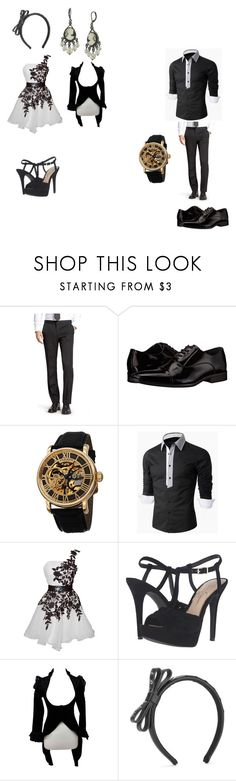 """princess and prince"" by reaper18 ❤ liked on Polyvore featuring Bonobos, Calvin Klein, Akribos XXIV, Jessica Simpson, RED Valentino and 1928"