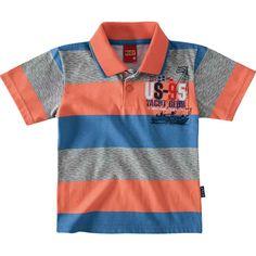 1a1534a886 Camiseta Pólo Infantil para Menino Listrada Salmão - Kyly    764 Kids