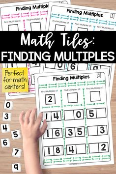 Finding multiples math tiles! This is one of my favorite math centers for multiples.  Differentiation Tip: Students who have yet to master all of their multiplication facts can also have great success with this resource by using a 12 x 12 multiplication table as an aid 5th Grade Math, Fourth Grade, Third Grade, Teaching Critical Thinking, Teaching Math, Activity Centers, Math Centers, Hands On Activities, Math Activities