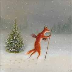 Winter Illustration, Illustration Art, Fantastic Fox, Wolf Images, Vintage Fox, Art Folder, Naive, Feather Art, Unusual Art