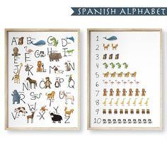 SPANISH Printable Animal Alphabet and Numbers set / Alphabet wall art / spanish alphabet / kids room decor / 16x20 alphabet set / printable