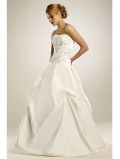 Robe de mariée Corset en Satin avec col en coeur sans bretelle ornée de Broderies et de perles