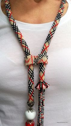 Plaid Pattern Necklace-Beaded Necklace Beaded by NazoDesign