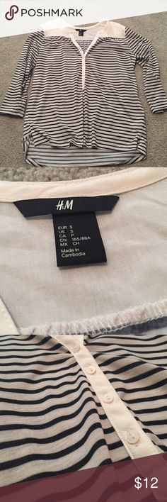 H&M Blouse Grey and Navy blue stripe henley. Quarter sleeve top. Worn two times. Like new condition. No stains or rips. H&M Tops Blouses
