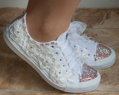 Customized wedding converse trainers with crystals, lace & pearls. Wedding trainers, wedding converse, bridal Converse,wedding tennis shoes