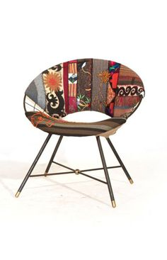 Add a pop of style to your living room seating group with this whimsical handmade accent chair featuring a midcentury-inspired silhouette and patchwork upho. Moroccan Furniture, Modern Furniture, Home Furniture, Eclectic Furniture, Furniture Refinishing, Furniture Ideas, Patchwork Chair, Living Room Seating, Discount Rugs
