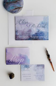 Watercolor Wedding Invitation Blue Lavender by DesignedWithAmore