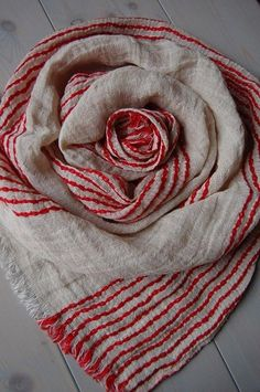 Natural LINEN Scarf Soft Beige Red Scarf Striped by ROSALinen