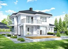APS 266 + storey house design, area with a spacious garage, with a roof . Modern Architecture House, Modern House Design, Architecture Design, Facade Design, Style At Home, House Plans Mansion, Architectural House Plans, Property Design, Modern Farmhouse Exterior