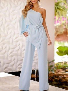 22557de4faf Shop One Shoulder Irregular Design Belted Jumpsuits – Discover sexy women  fashion at Boutiquefeel
