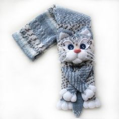Knitted cat scarf,Knitted scarf,Animal scarf,Cat scarf,Knit scarf by NPhandmadeCreations on Etsy