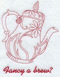 A redwork 'fancy a brew?' teapot machine embroidery design.