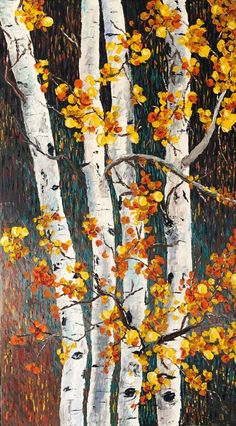 """Sunset Aspens"" - original oil painting by Tessa Nicole 55""x31"" @tessanicoleart..."