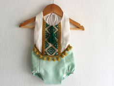 Mint Green Baby Girl Romper/ Linen Boho Chic Sunsuit/ Baby Clothes/ Pom Pom/ Photo Props/ Size: NB,0-3,3-6,6-12,12-18,18-24 mths, 2T-4T