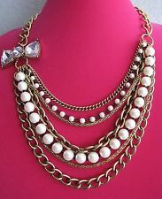 BETSEY JOHNSON ICONIC MULTI STRAND FAUX PEARL & CHAIN STATEMENT NECKLACE~RARE