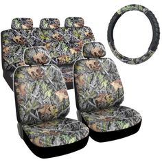 Hawg Camo Seat Covers Forest Pattern Camouflage Cushion Grip Steering Wheel Cover Set for Auto Truck Car SUV Camo Seat Covers, Bench Seat Covers, Car Covers, Camo Car Accessories, Best Baby Car Seats, Hunting Camouflage, Truck Tyres, Camo Designs, Car Wheels
