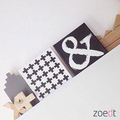 Canvasdoek met &teken in zwart wit 20x20 cm van Zoedt op Etsy