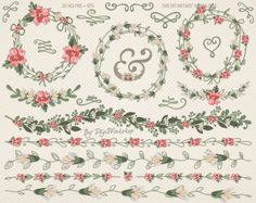 #floral #wedding #clipart #wreaths #bridal #borders #scrapbooking