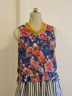 Womens 100% Linen Floral Summer sleeveless tank top with raw edge frill along hem edge. MULTI COLOURED FLORAL Raw Edge, No Frills, High Neck Dress, Tank Tops, Floral, Summer, Shopping, Color, Dresses