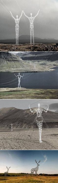 Icelandic Powerlines What a creative expression for something normally so untilitarian! #Iceland #sculpture #photography