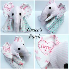 Keepsake elephant made using baby's first clothing and weighted to her birthweight. She has been finished off with an embroidered name on the ear.