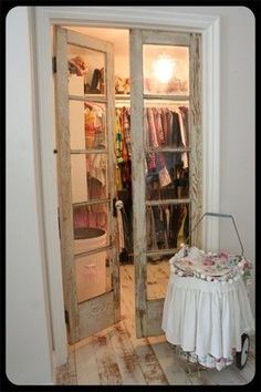 old doors repurposed for closet doors. love this for my house. home decor interior design decoration bathroo. Vintage Closet, Rustic Closet, Bedroom Rustic, Shabby Chic Master Bedroom, Country Master Bedroom, Rustic Master Bathroom, Master Bedrooms, Modern Bathroom, Old Doors