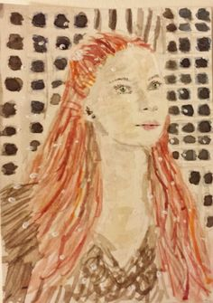 Game  of  Thrones  Sansa  Stark watercolor painting  original  ACEO  by SJM #Miniature